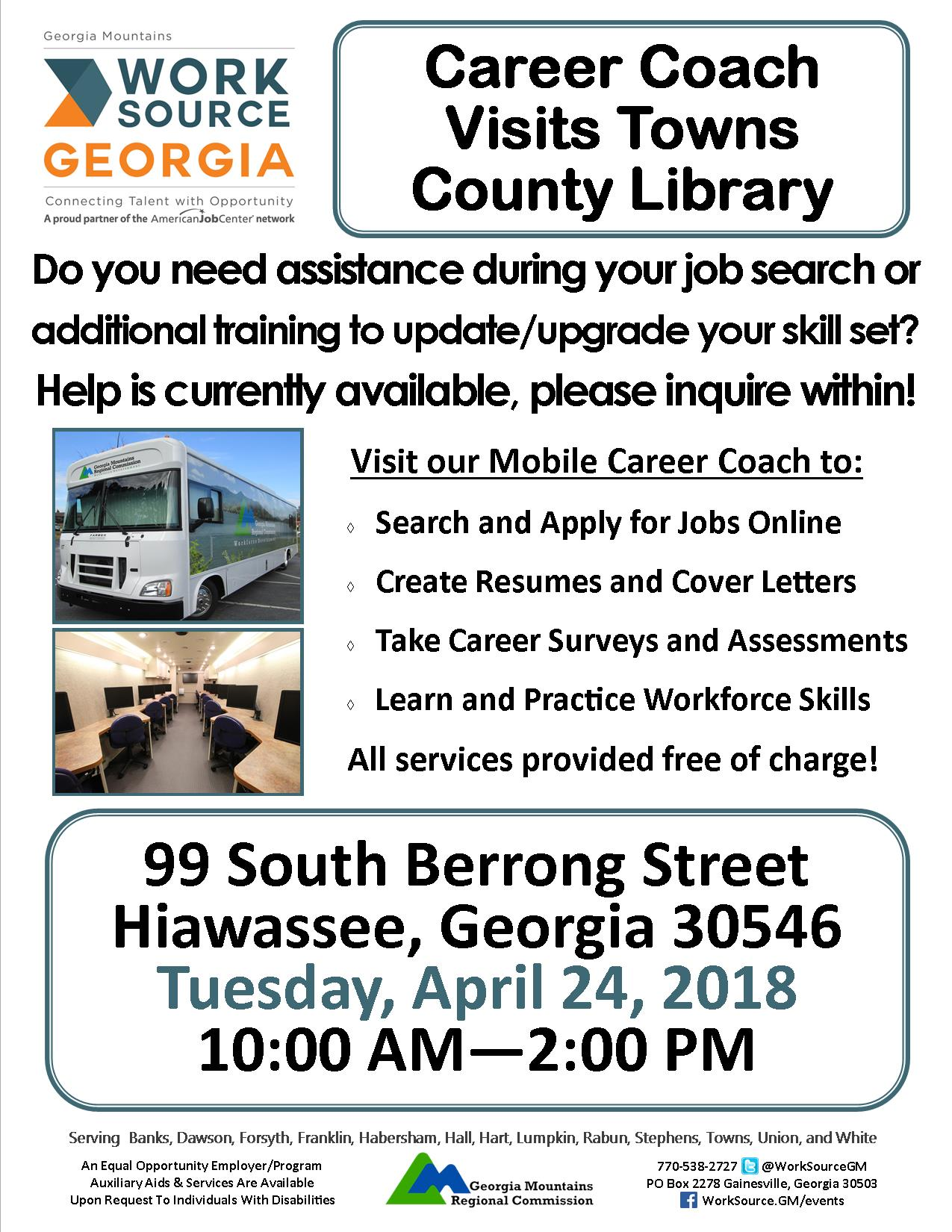 Career Coach Visits Towns County Library